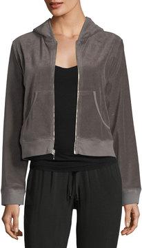 Allen Allen Velour Zip-Front Hooded Jacket