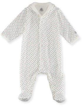 Petit Bateau Tiny Star-Print Cotton Footie Pajamas, Size Newborn-9M