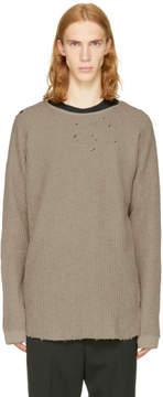 Miharayasuhiro Beige Damaged Waffle Knit Sweater