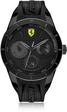 Ferrari Scuderia RedRev Black Stainless Steel Case and Silicone Strap Men's Chrono Watch