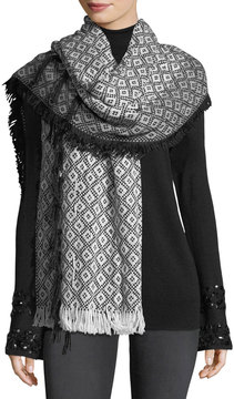 Neiman Marcus Diamond-Knit Blanket Fringe Wrap