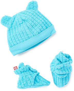 Zutano Pool Blue Waffle Knit Hat & Booties - Infant