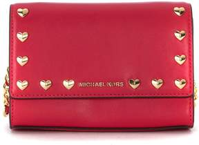 Michael Kors Ruby Ultrapink Leather Shoulder Bag With Heart Studs - ROSA - STYLE