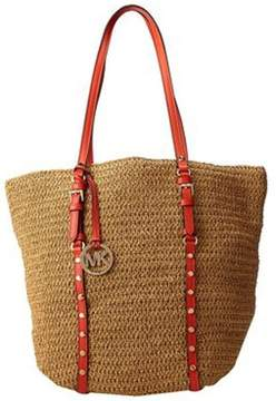 Michael Kors Michael by Studded Straw Large Shopper in Natural/Mandarin - NATURAL - STYLE