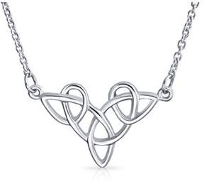 Celtic Bling Jewelry Trinity Knot Pendant Sterling Silver Station Necklace 16 Inches.