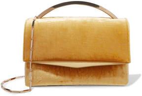 Eddie Borgo - Boyd Vanity Leather-trimmed Velvet Shoulder Bag - Yellow