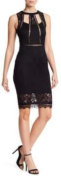 Bebe Sheer Cutout Lace Sheath Dress