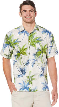 Cubavera Big & Tall Geo Textured Palm All Over Printed Shirt