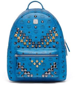 MCM Stark Men's Stud Medium Backpack, Munich Blue