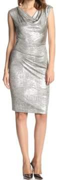 Vince Camuto Women's Metallic Cowl Neck Cap Sleeve Dress