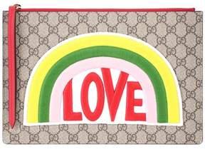 Gucci GG Supreme embroidered clutch - MULTICOLOURED - STYLE