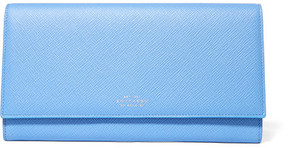 Smythson - Panama Marshall Textured-leather Travel Wallet - Bright blue