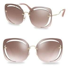 Miu Miu 64MM Cutout Mirrored Sunglasses