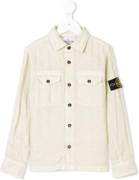 Stone Island Junior logo patch washed shirt