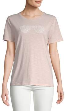 Karl Lagerfeld Paris Women's Stretch Cotton Lace Sunglasses Tee