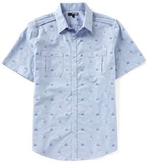 Murano Slim-Fit Camo Floral Jacquard Short-Sleeve Woven Shirt