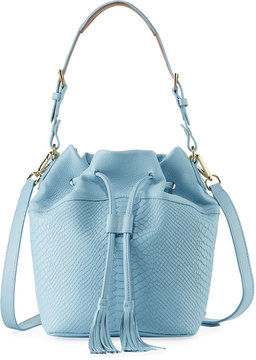 GiGi New York Jenn Snake-Embossed Bucket Bag, Blue