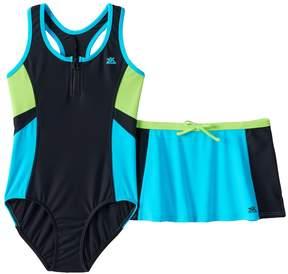 ZeroXposur Girls 7-16 One-Piece Swimsuit & Skirt Set