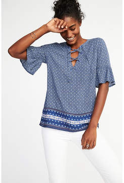 Old Navy Lightweight Lace-Up Printed Top for Women