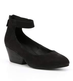 Eileen Fisher Liza Nubuck Ankle Strap Block Heel Pumps