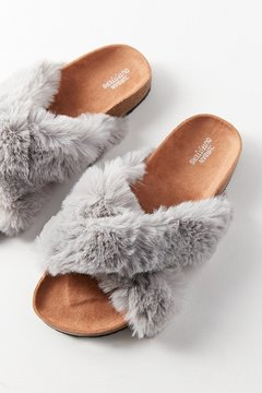 Urban Outfitters Crossed Faux Fur Slide