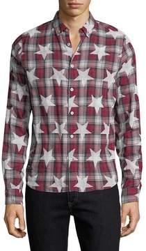 Mostly Heard Rarely Seen Men's Star Printed Cotton Sportshirt