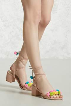 Forever 21 Pom-Pom Faux Suede Heels