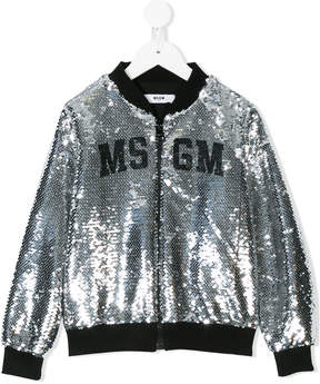 MSGM logo sequin embroidered bomber jacket