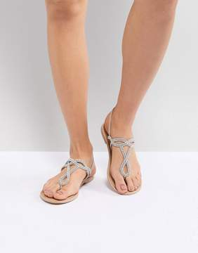 New Look Leather Look Embellished Toe Post Flat Sandal