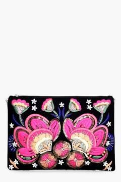 boohoo Elizabeth Floral Embellished Clutch Bag