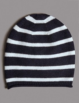 Marks and Spencer Pure Cashmere Striped Beanie