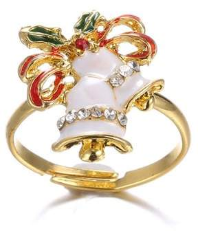 Alpha A A Christmas Gold Tone Holiday Bell Adjustable Ring
