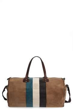 Ghurka Grove Stripe Leather Duffel Bag - Beige