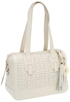 Isaac Mizrahi Live! Bridgehampton Perforated Leather Satchel