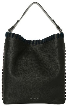 Orciani Noona Velvet Trim Calfskin Leather Tote - Black