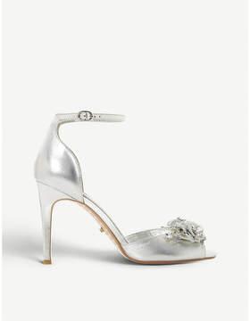 Dune Meadowe floral metallic leather heeled sandals