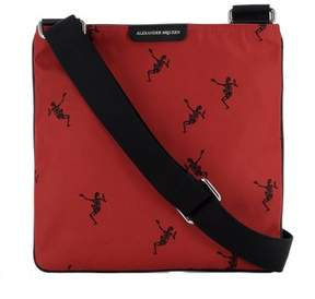 Alexander McQueen Men's Red Fabric Messenger Bag.