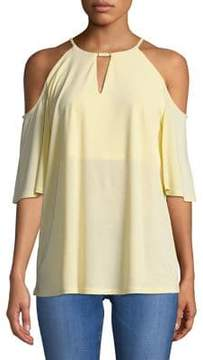 Ellen Tracy Ruffled Cold-Shoulder Top