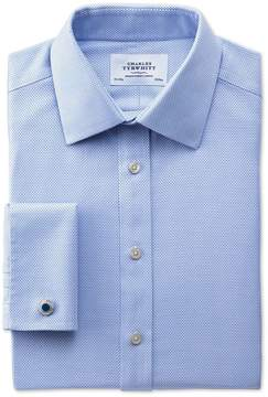 Charles Tyrwhitt Classic Fit Non-Iron Textured Herringbone Blue Cotton Dress Shirt French Cuff Size 15/35