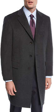 Neiman Marcus Single-Breasted Cashmere Top Coat, Charcoal