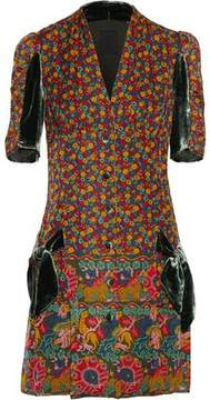 Anna Sui Velvet-Trimmed Printed Cotton And Silk-Blend Mini Dress