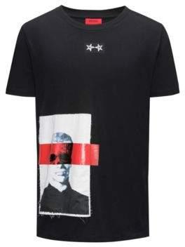HUGO Boss Applique Cotton Graphic T-Shirt Dimage XS Black
