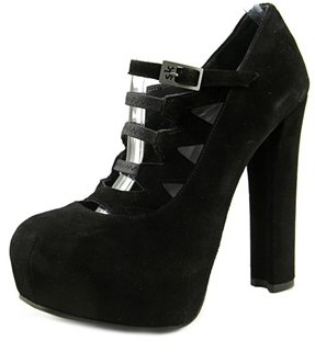 Stephane Kelian Kouros 1 Women Open Toe Suede Black Platform Heel.