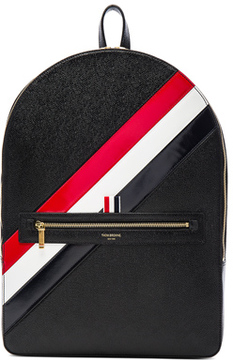 Thom Browne Diagonal Stripe Backpack in Black.