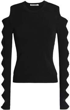 Autumn Cashmere Cutout Bow-Detailed Stretch-Knit Sweater