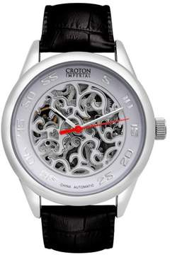 Croton Men's Silver/ White Imperial Automatic Strap Watch