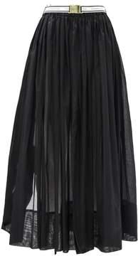 Alexandre Vauthier Black Cotton Midi Skirt With Elasticated Belt.