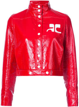 Courreges logo patch cropped bomber jacket