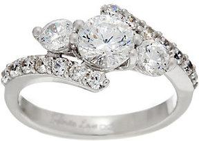Diamonique Infinite Love 3-Stone 88 Facet Ring, Platinum Clad