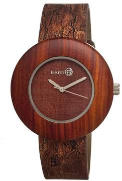 Earth Ligna Red Wood Dial Red Leather Unisex Watch
